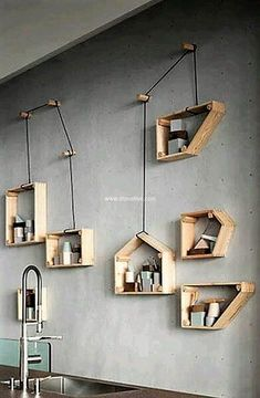 recycled pallets shelf art