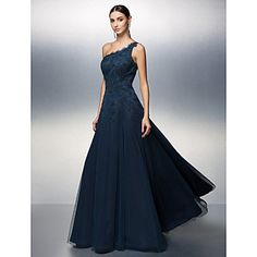 una línea de vestido palabra de longitud tul de noche del hombro – EUR € 119.99