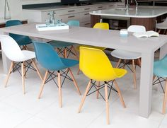 Modern Eames Style Dining Chairs and Double Extending Dining Table Eames Style Dining Chair, Eames Chairs, Dining Table Chairs, Kitchen Chairs, Upholstered Dining Chairs, Dining Furniture, Dining Set, Kitchen Dining, Garden Furniture