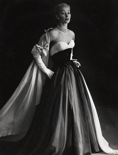 Pierre Balmain Evening Ensemble, photo by Willy Maywald, circa 1953.