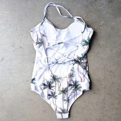 tropical one piece open back swimsuit - shophearts - 1