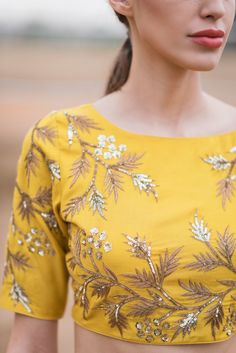 Mustard Yellow Lehenga Set With Dupatta Lengha Blouse Designs, Blouse Designs High Neck, Bridal Blouse Designs, Yellow Lehenga, Embroidery Suits Design, Stylish Dress Designs, Kurta Designs Women, Blouse Models, Yellow Blouse