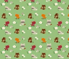 Woodland Animal Friends fabric by clayvision on Spoonflower - custom fabric