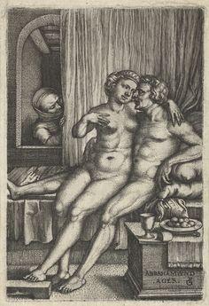 Abraham en Hagar bespied door Sara, Georg Pencz, 1546 - 1550