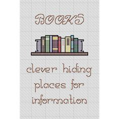 Funny Cross Stitch Pattern BOOKS clever hiding by Stitcharific
