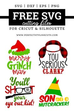 Free Christmas movie SVG BundleFree Christmas movie SVG BundleChristmas Tree Designs - Use as a cut file for Silhouette or Cricut!Christmas Tree Designs - Use as a cut file for Silhouette or Cricut! Cricut Air, Cricut Vinyl, Cricut Fonts, Merry Christmas, A Christmas Story, Christmas Deco, Christmas Vinyl, Kids Christmas Shirts, Christmas Vacation Shirts