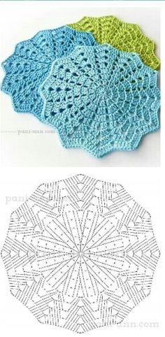Crochet Placemat Patterns, Crochet Coaster Pattern, Crochet Flower Patterns, Crochet Tablecloth, Crochet Diagram, Crochet Chart, Thread Crochet, Crochet Motif, Diy Crochet