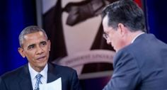 """""""The guy is so arrogant, I bet he talks about himself in the third person,"""" a grinning Obama said as he slipped into Colbert's role last night."""