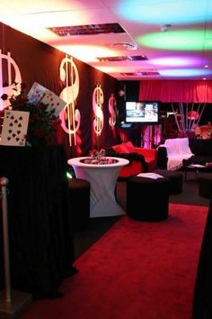 #Casino #Party Ideas - Red and black are two of the best colours to use when decorating your Room / Venue