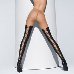 Wolford Brilliant Lace-Up Tights - $225.00