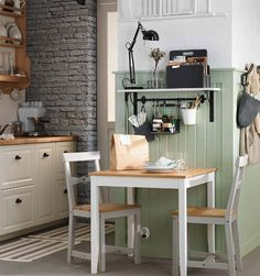 Poppytalk: 20 Cool Decorating Tricks + Finds from the 2016 IKEA Catalogue {great idea for a small kitchen eating area - by putting the napkins, cutlery & condiments off the eating area -still leaves lots of room to actually eat! Small Dining, Dining Table In Kitchen, Kitchen Decor, Dining Area, Kitchen Ikea, Kitchen Nook, Dining Room, Fintorp Ikea