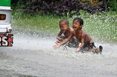 Kids know how to have fun in the rain. Only in the Philippines