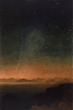 Painting by Charles Piazzi Smyth. The Great Comet of oil on canvas The Great Comet, Nocturne, Aesthetic Art, Landscape Art, Art Inspo, Painting & Drawing, Oil On Canvas, Cool Art, Art Photography