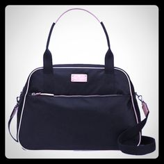 """NWT  Kate Spade Travel Bag❤️ NWT!  travel bag with zip top closure. nylon with leather trim. embossed kate spade new york signature on leather license plate. exterior zipper compartment. optional cross body strap custom woven lining, double slide pockets and interior zip pocket 11.8""""h x 17.3""""w x 7.1""""d drop length: 8.7"""" Adjustable Strap to 22"""" ♠️ kate spade Bags Travel Bags"""