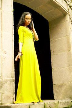 Canary Yellow 3/4 Sleeve Maxi Dress