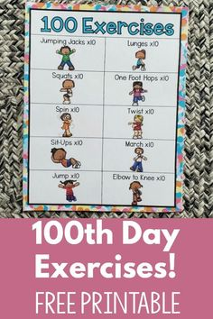Do 100 Exercises for the day! Not only is this freebie perfect for the day of school but it can easily be used all year round! A great warm up or day Day Free Exercise Printable Exercise Activities, Movement Activities, Montessori Activities, Physical Activities, Elderly Activities, Dementia Activities, Educational Activities, Warm Up For Kids, Yoga For Kids