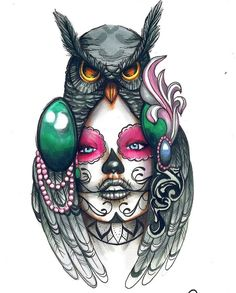 .a Catriana Owl Tattoo Drawings, Tribal Drawings, Tattoo Sketches, Owl Tattoo Design, Tattoo Sleeve Designs, Sleeve Tattoos, Chicanas Tattoo, Cover Tattoo, Skull Tattoos