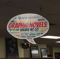 Graphic Novels library genre sign - word cloud from tagul.com