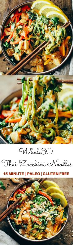 """15 Minute whole30 Thai chicken noodles with """"peanut"""" sauce, kale, and bell peppers. An easy family friendly meal, serve hot or cold! Easy whole30 dinner recipes. Whole30 recipes. Whole30 lunch. Whole30 recipes just for you. Whole30 meal planning. Whole30 meal prep. Healthy paleo meals. Healthy Whole30 recipes. Easy Whole30 recipes. Zucchini Noodle recipes."""