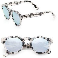 Illesteva Leonard 48MM Round Sunglasses ($177) ❤ liked on Polyvore featuring accessories, eyewear, sunglasses, apparel & accessories, ice tortoise, round frame sunglasses, acetate sunglasses, illesteva sunglasses, mirror lens sunglasses and lightweight sunglasses