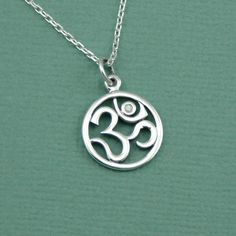 Diamond Om Necklace  sterling silver handmade by TheZenMuse, $39.00