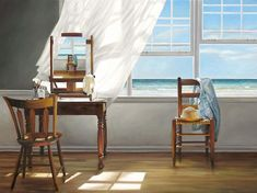 Karen Hollingsworth Art Therapy oil on canvas, 36 x 48 inches Open Window, Retro Art, Beach Themes, Interior Paint, Decoration, Windows, Gallery, House, Art Therapy