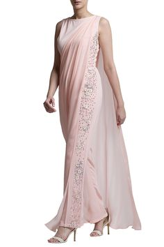 Shop Bhaavya Bhatnagar - Blush pink drape jumpsuit Latest Collection Available at Aza Fashions Western Dresses, Indian Dresses, Indian Outfits, Indian Designer Outfits, Designer Dresses, Moda India, Sari Blouse Designs, Saree Dress, Indian Attire