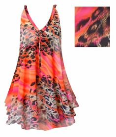 91bf2015067 Sheer Orange   Pink Leopard Print Semi Sheer A-Line Overshirt Supersize   Plus  Size Top With Black Liner 4x