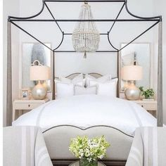 If staying in bed all day is wrong I don't want to be right especially if it looks like this beaut! Enjoy today via - Architecture and Home Decor - Bedroom - Bathroom - Kitchen And Living Room Interior Design Decorating Ideas - White Bedroom, Beautiful Bedrooms, Home Bedroom, Home Decor, House Interior, Bedroom Inspirations, Coastal Bedrooms, Luxury Bedding, White Bedroom Design