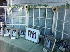 Window frame seating chart with family photos
