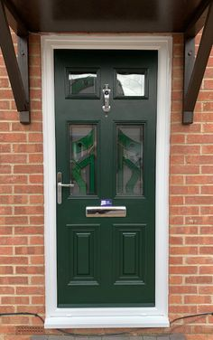Georgian 2 style in Green, with a special order of coloured TG12 glazing and Chrome hardware. About The Palladio Door Collection UK Profile Developments have endeavoured to provide a superior composite door which has resulted in the iconic Palladio Door Collection. Not only are their doors strong, a-rated and highly secure, they combine tradition with the latest innovation putting them at the forefront of the composite door industry in the UK. Composite Front Door, Solid Doors, Georgian, Entrance, Innovation, Composition, Garage Doors, Chrome, Hardware