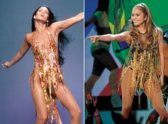 Thenand Now Fashion: 11 Celebrity Style Twins That Prove Great Minds Think Alike - THEN: Cher, 1978 NOW: Jennifer Lopez, 2014 from #InStyle