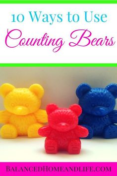 When it comes to manipulatives for homeschool, you want to get the best for your money. Counting bears are one of those math manipulatives that you can use again and again, year after year. There are a ton of different ways to use them, but here are the t Numbers Preschool, Preschool At Home, Preschool Curriculum, Preschool Classroom, Kindergarten Math, Toddler Activities, Learning Activities, Preschool Activities, Homeschooling