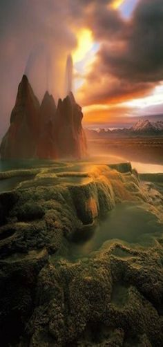 Fly Geyser, accidentally discovered while digging for a well. Washoe County. NEVADA