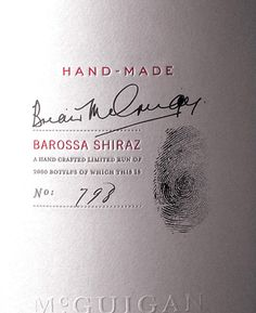 simple and clean label w/ signature & thumbprint #handwritten #wine #packaging