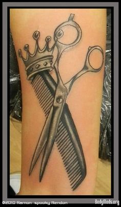 Hair Stylist Tattoos Ideas Sleeves | Crown Comb and Scissor Grey Ink Tattoos On Half Sleeve