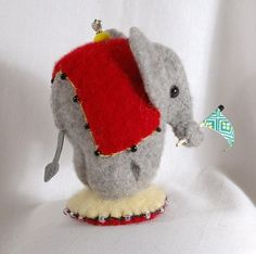 Elephant Wool Felt Pincushion Baby Circus Elephant by LucysLocket, $24.50