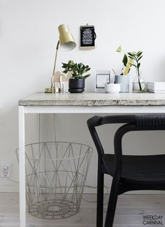 Transform a simple desk by adding a unique top. For more ideas go to: http://www.villa-candles.com/newblog1/