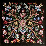 The Métis were famous for their floral beadwork, and were often called the 'Flower Beadwork People'. The symmetric floral beadwork, often set against a black or dark blue background, was inspired by E Native Beadwork, Native American Beadwork, Native American History, Native American Indians, Canadian History, Native Americans, Beading Patterns, Embroidery Patterns, Floral Patterns