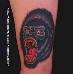 gorilla tattoo! gorilla tattoo jason walstrom tattoos minneapolis ... Gorilla Tattoo, Head Tattoos, Wolf Tattoos, American Traditional Sleeve, Color Tattoo, Tattoo Art, Brother Tattoos, Traditional Tattoo Flash, American Tattoos