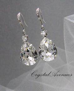 Crystal Bridal earrings  Wedding jewelry por CrystalAvenues en Etsy
