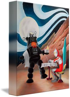"""""""Robbie+and+Ultraman+at+Coffee""""+by+Andrew+Carson,+San+Francisco+//+Print+of+Original+Acrylic+Painting+featuring+Robbie+the+Robot+from+Forbidden+Planet+and+Ultraman+on+a+Coffee+Break,+with+Robbie+as+waiter,+by+Andrew+Carson.+//+Imagekind.com+--+Buy+stunning+fine+art+prints,+framed+prints+and+canvas+prints+directly+from+independent+working+artists+and+photographers."""