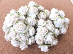 20 PCS WHITE MULBERRY PAPER ROSES FLOWERS HANDMADE LOVE CARD WEDDING 15mm #handmade