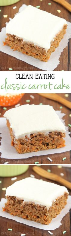 Clean-Eating Carrot Cake -- a healthy & easy, no-mixer-required recipe. The BEST one I've ever eaten! Made with NO butter, refined flour or sugar! (Favorite Desserts Sugar)