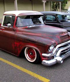 Red Slammed Chevy Truck