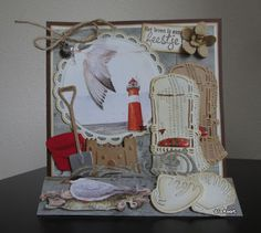 Card by DT member Anita with among others Creatables Beach Chair Craftables Tiny's Shells Tiny's Wave and Tiny's Sandcastle set by Marianne Design Beach Scrapbook Layouts, Marianne Design Cards, Nautical Cards, Beach Cards, Sea Theme, Greeting Cards Handmade, Diy Cards, Card Stock, Card Making
