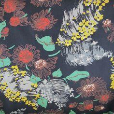1950s Black Base Floral Cotton Vintage Fabric - A Piece of Cloth Vintage Fabric Merchants