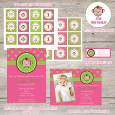 Printable Party Package: Girls Mod Monkey Collection. $30.00, via Etsy.