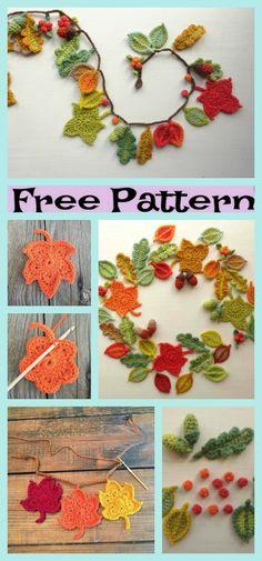 Beautiful Crochet Fall Leaves - Free Patterns - DIY 4 EVER - mix. Crochet Leaf Patterns, Crochet Leaves, Crochet Motif, Diy Crochet, Crochet Flowers, Crochet Bunting, Unique Crochet, Crochet Fall Decor, Autumn Crochet