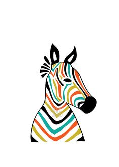 Zebra Head, Home decor, Interior, Art Print, Animal Illustration, Horse, Drawing, Illustration, Decorative Arts, Abstract print,